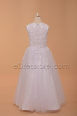 Lace White Beaded Poofy Girl First Holy Communion Dresses Ankle Length