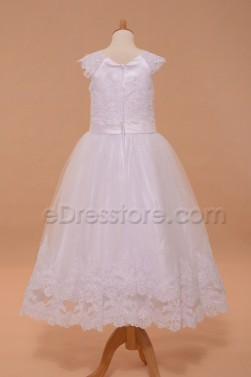 Lace Girls First Communion Dresses Tea Length
