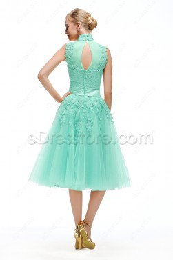High Neck Mint Green Homecoming Dresses Tea Length