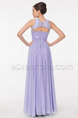 Modest Lace Lavender Evening Dress Long