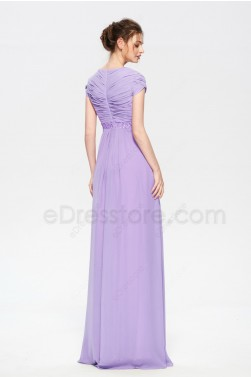 Lavender Modest Beaded Long Prom Dresses Short Sleeves