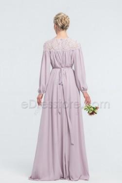 Lavender Modest Bridesmaid Dresses Bishop Long Sleeves