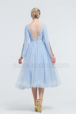 Light Blue Backless Ball Gown Midi Prom Dresses Long Sleeves