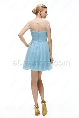 Light Blue Short Bridesmaid Dresses Cap Sleeves