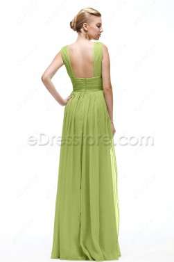 V Neck Green Evening Gowns with Slit