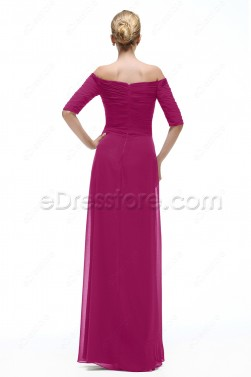 Magenta Maid of Honor Dresses Bridesmaid Dress with Sleeves