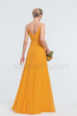 Marigold Wrap Bridesmaid Dresses Spaghetti Straps Long