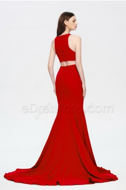 Mermaid Red Halter Long Prom Dress with Slit
