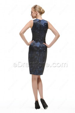 Midnight Blue Sparkle Homecoming Dresses Short Prom Dress