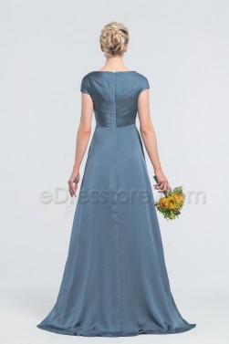 Minimalist Modest Dusty Blue Satin Bridesmaid Dresses Cowl Neck