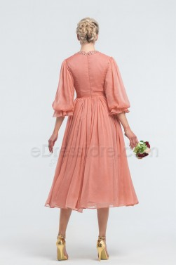 Modest Beaded Soft Terracotta Midi Bridesmaid Dresses with Sleeves