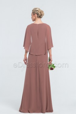Modest Cinnamon Rose Bridesmaid Dresses with Capelet