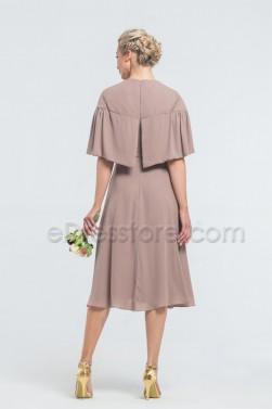 Modest Cinnamon Rose Midi Bridesmaid Dresses with Sleeves