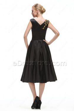 Modest Black Cocktail Dress Tea Length with Golden Embroidery