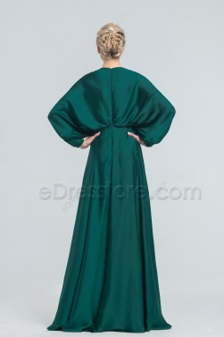 Modest Dark Emerald Satin Bridesmaid Dresses Long Dolman Sleeves