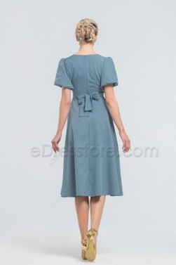 Modest Dusty Blue Midi Bridesmaid Dresses Short Sleeves