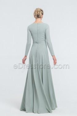 Modest Dusty Sage Bridesmaid Dresses Long Sleeves