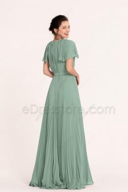 Modest Eucalyptus Bridesmaid Dresses Short Sleeves