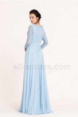 Modest Light Blue Bridesmaid Dresses Long Sleeves