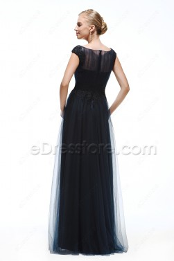 Navy Blue Modest Prom Dresses Long Cap Sleeves