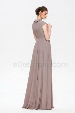 Modest Neutral Bridesmaid Dresses Jewel Neckline
