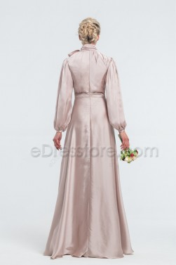 Modest Neutral Satin Bridesmaid Dresses Long Sleeves High Neck