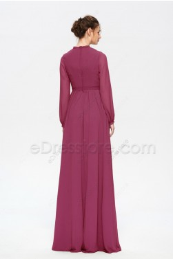 Modest Rosewood Bridesmaid Dresses Long Sleeves