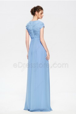 Modest Sky Blue Bridesmaid Dresses with Beadings