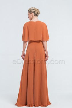 Modest Terracotta Bridesmaid Dresses with Capelet