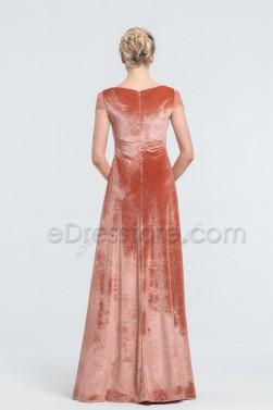 Modest Terracotta Velvet Bridesmaid Dresses