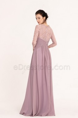 Modest Wisteria Lace Bridesmaid Dresses with Sleeves