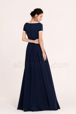 Modest Navy Blush Bridesmaid Dresses with Short Sleeves