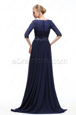 Plus SIze Navy blue Modest Formal Dress with Sleeves