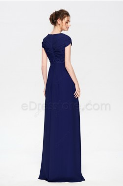 Navy  Blue Modest Beaded Bridesmaid Dresses Cap Sleeves