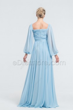 Pastel Blue Bridesmaid Dresses Long Sleeves