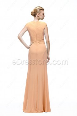 Mermaid Modest Peach Color Bridesmaid Dresses Cap Sleeves