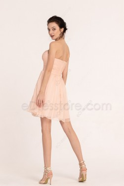 Peach Homecoming Dresses Short Prom Dresses