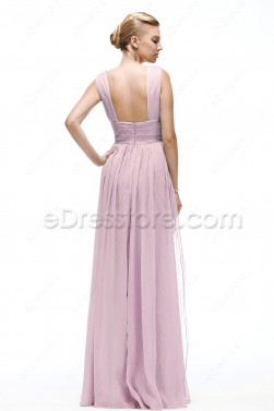 V Neck Pink Bridesmaid Dress Maid of Honor Dresses