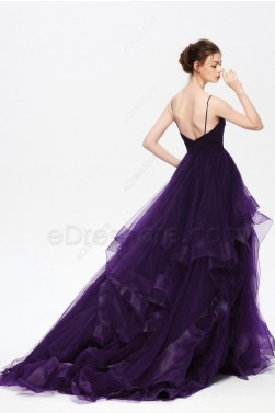 Purple Spaghetti Straps Homecoming Dress with Layered Trim