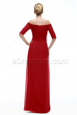 Off the Shoulder Red Evening Gown with Sleeves