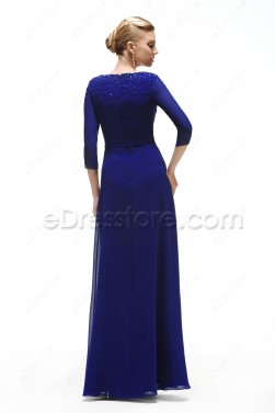 Modest Royal Blue Bridesmaid Dress with Sleeves