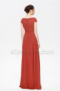 Rust Color Cowl Neckline Modest Bridesmaid Dresses