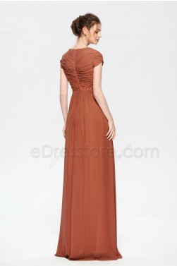 Rust Red Modest Mother of the Bride Groom Dresses