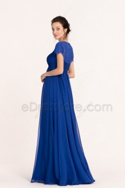 Sapphire Blue Modest Maternity Bridesmaid Dresses Short Sleeves