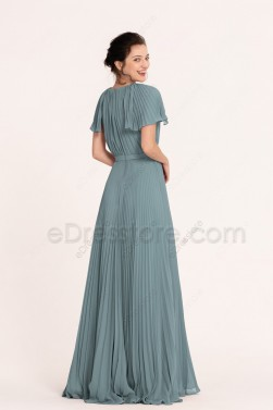 Seaglass Green Modest Mother of the Bride Dress with Sleeves