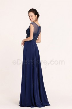 Sparkle Beaded Navy Blue Modest Prom Dresses Long Cap Sleeves