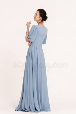 Steel Blue Modest Bridesmaid Dresses with Elbow Sleeves