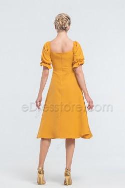 Vintage Marigold Yellow Midi Bridesmaid Dresses Your Bridesmaids Can Wear Again