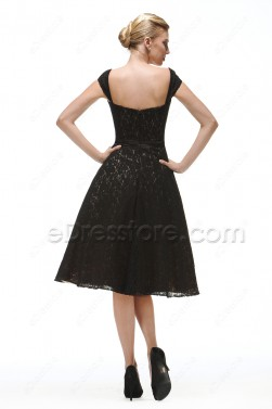 Vintage Black Lace Prom Dresses Tea Length