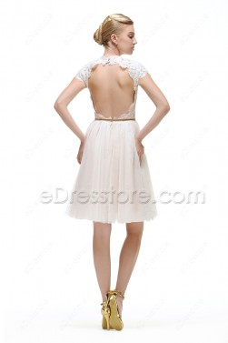White Backless Short Prom Dresses Cap Sleeves